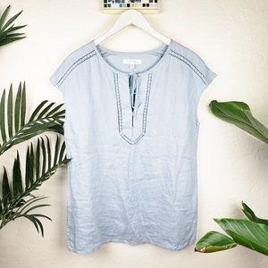 Ellen Tracy | 100% Linen Light Blue Tunic sz M
